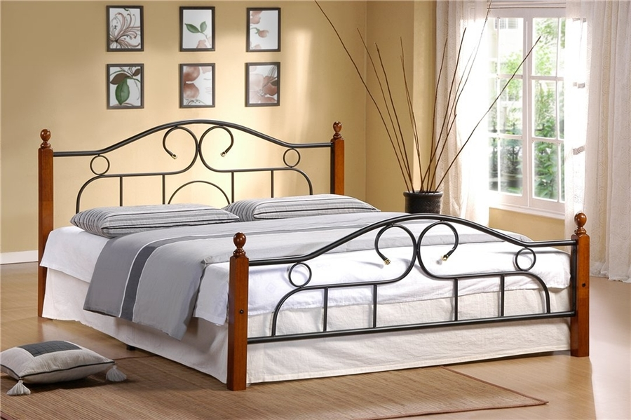 Двуспальная кровать мод. 808  (Alexa-160х200) Темный орех