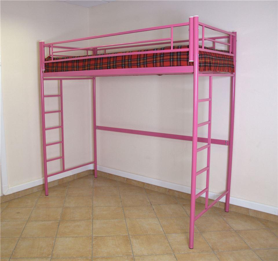 Кровать чердак  (Розовый/90х190)