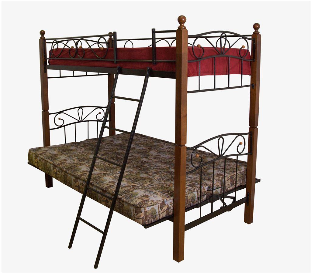 Двухъярусная кровать-футон ФАН-М (90х200 /металл черный/ дерево темный орех)