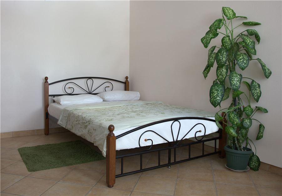 Кровать Арзу-М Темный орех (140х200/Черный металл)