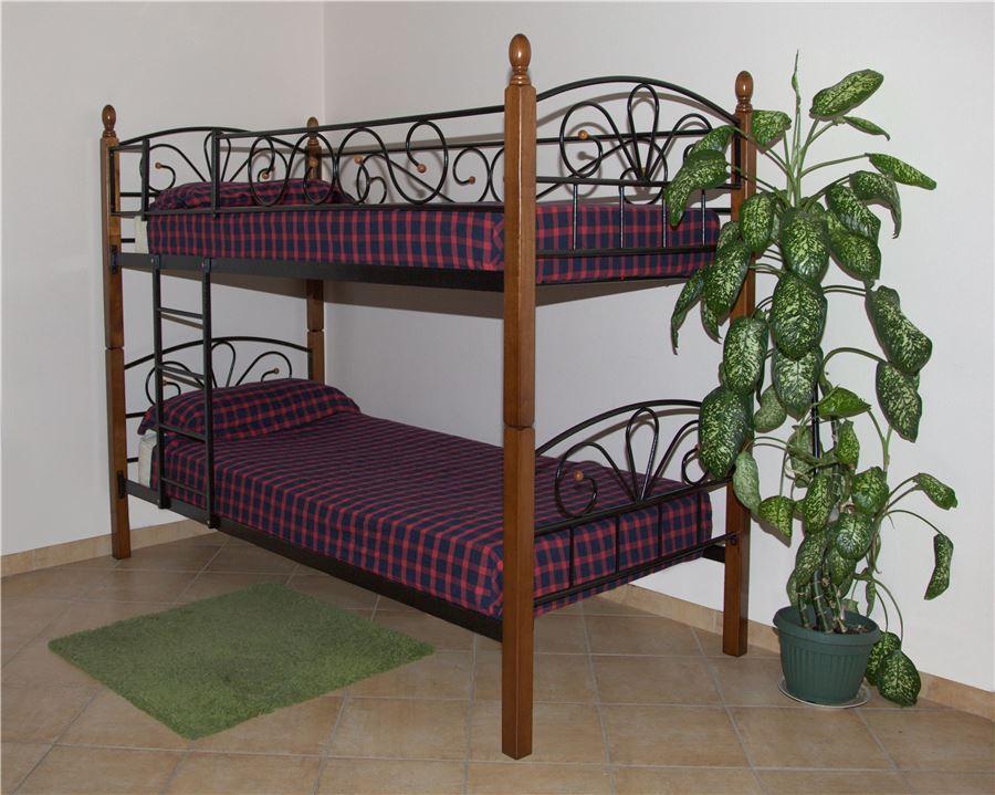 Двухъярусная кровать Арзу - DD (металл-черный/дерево- т.орех)