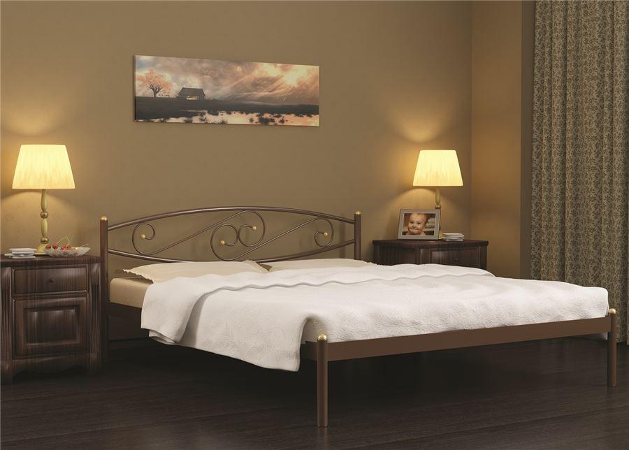 Кровать двуспальная Волна (160х200/металлическое основание) Коричневый бархат