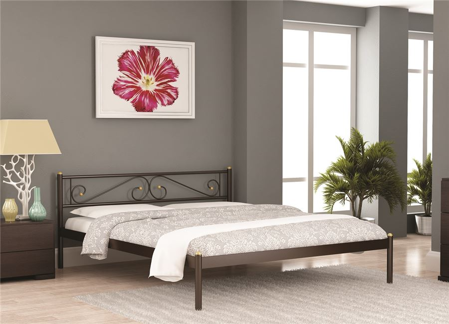 Кровать двуспальная ШАРМ (120х200/металлическое основание) Коричневый бархат