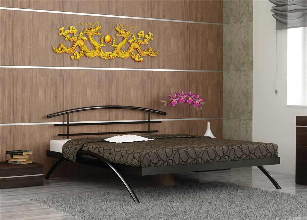Кровать двуспальная САКУРА (140х200/металлическое основание) Коричневый бархат