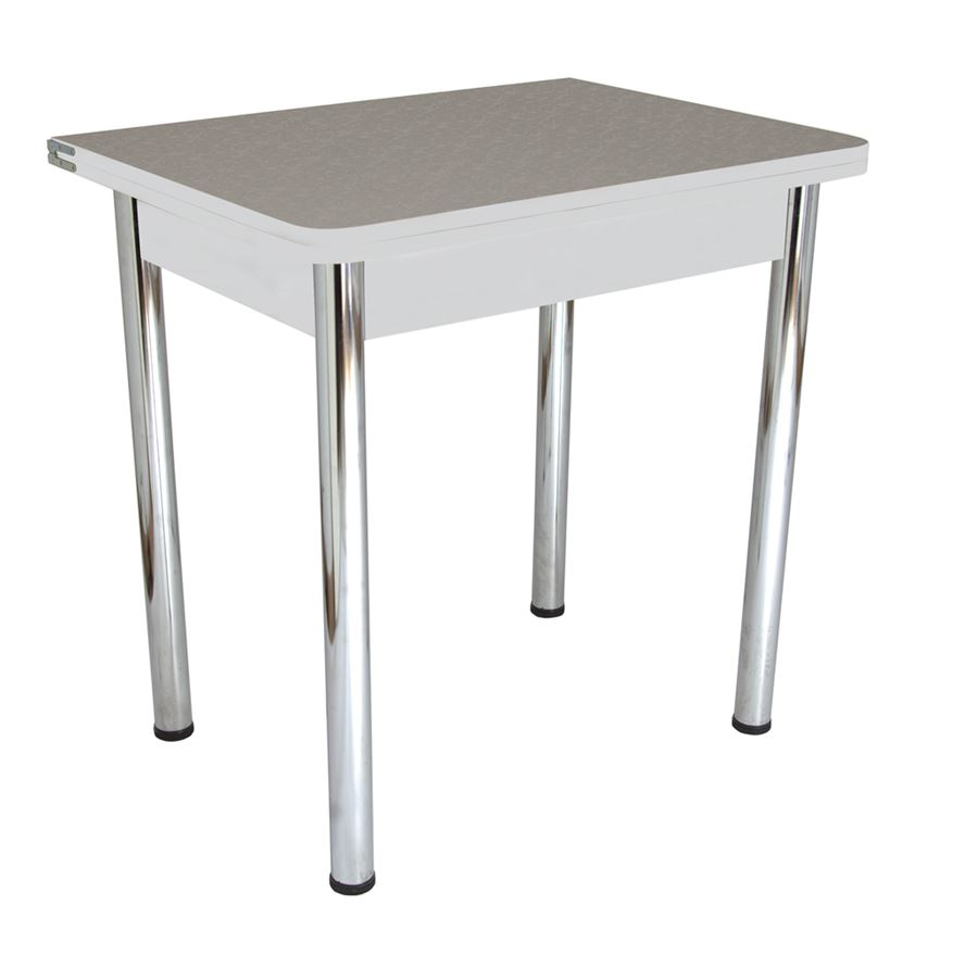Стол обеденный ЛС-831  (Цветы Аллюминий 4221/царги серый/ ноги Хром)