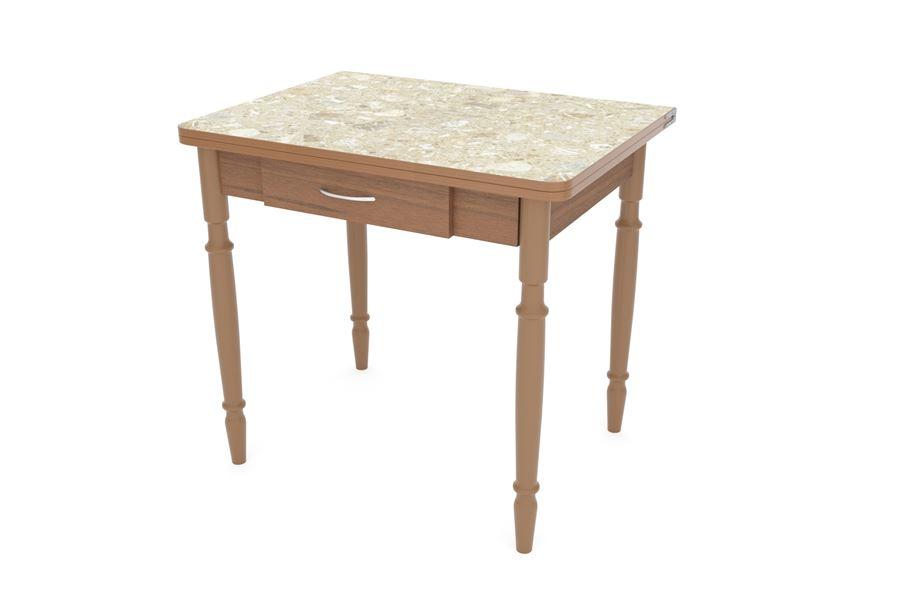Стол обеденный ЛС-831 с ящиком (2390 Ракушки/Ноги точеные Темный)