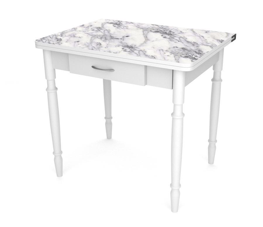 Стол обеденный ЛС-831 с ящиком (3014 Мрамор Каррара/ ноги Белые точеные/кр+ст. белый)
