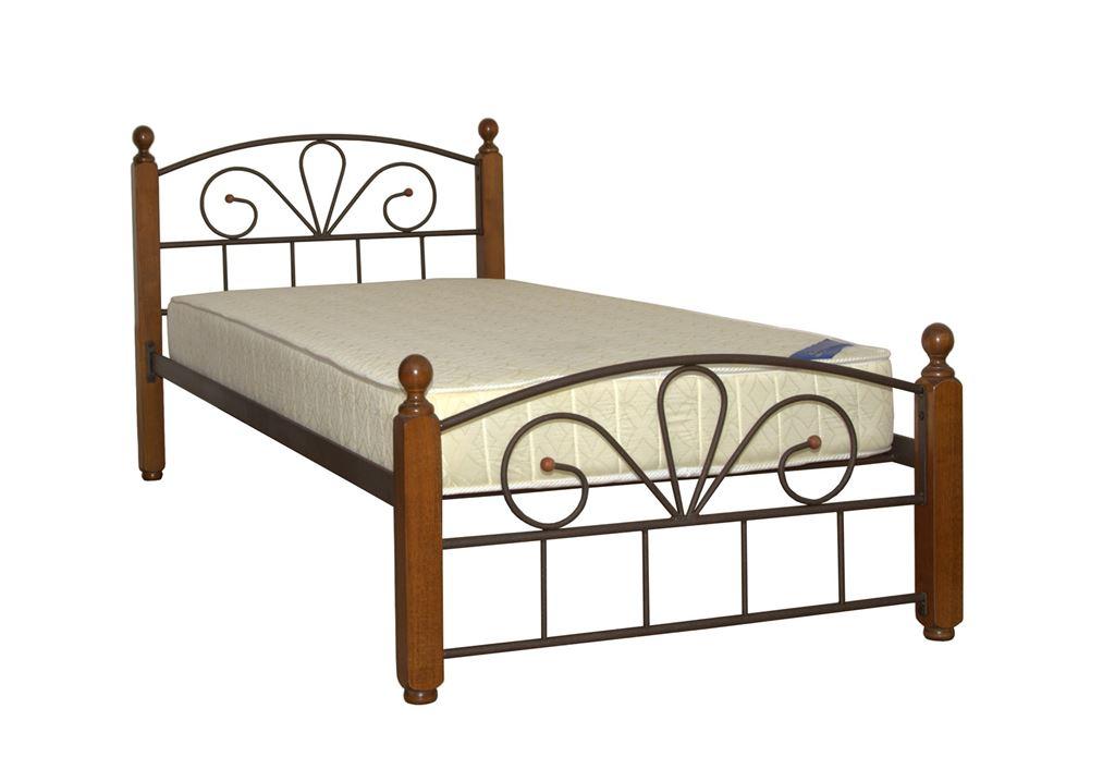 Односпальная кровать Арзу-М Темный орех (90х200/Коричневый бархат)