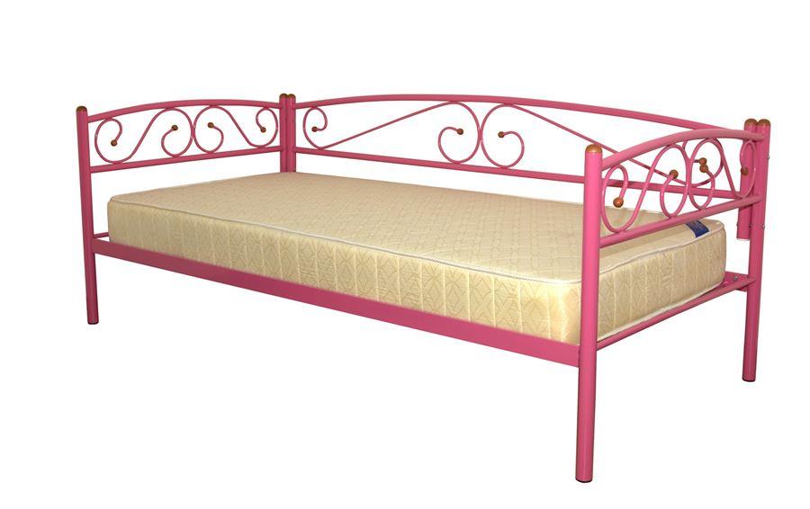 Кушетка Оптима Люкс (90х200/металлическое основание) Розовый