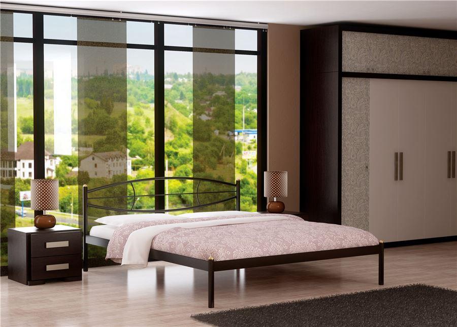 Кровать Аура (160х200/ цвет Чёрный/ металлическое основание)