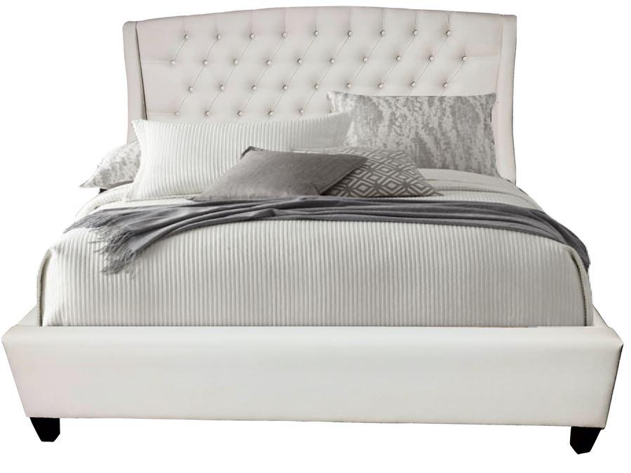 Кровать Hugo FENIX  (белая экокожа)  1600*2000 комплектация LUXE с подьемным механизмом