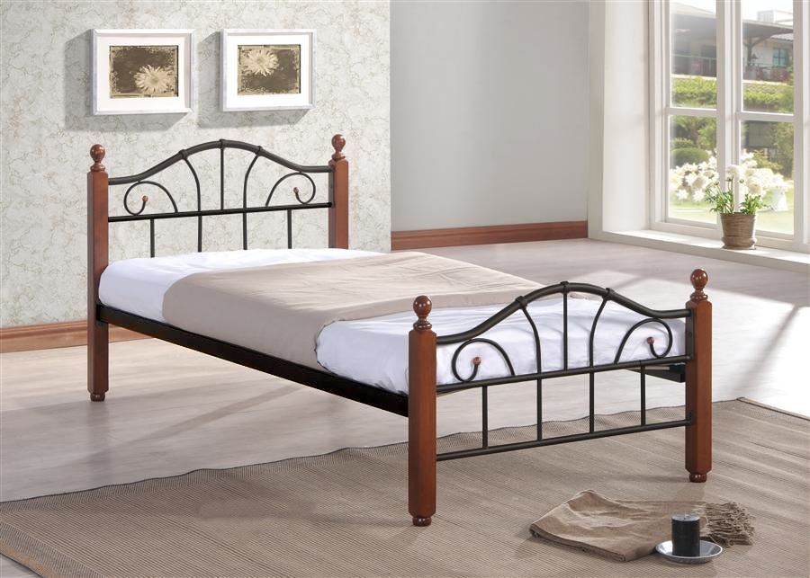 МИРА Кровать(90х200/Черный металл/ноги Темный орех)