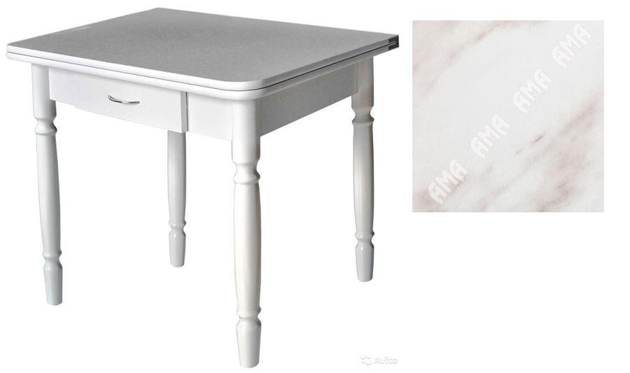 Стол обеденный ЛС-831 с ящиком (Мрамор 4131 (415)/ ноги Белые точеные)