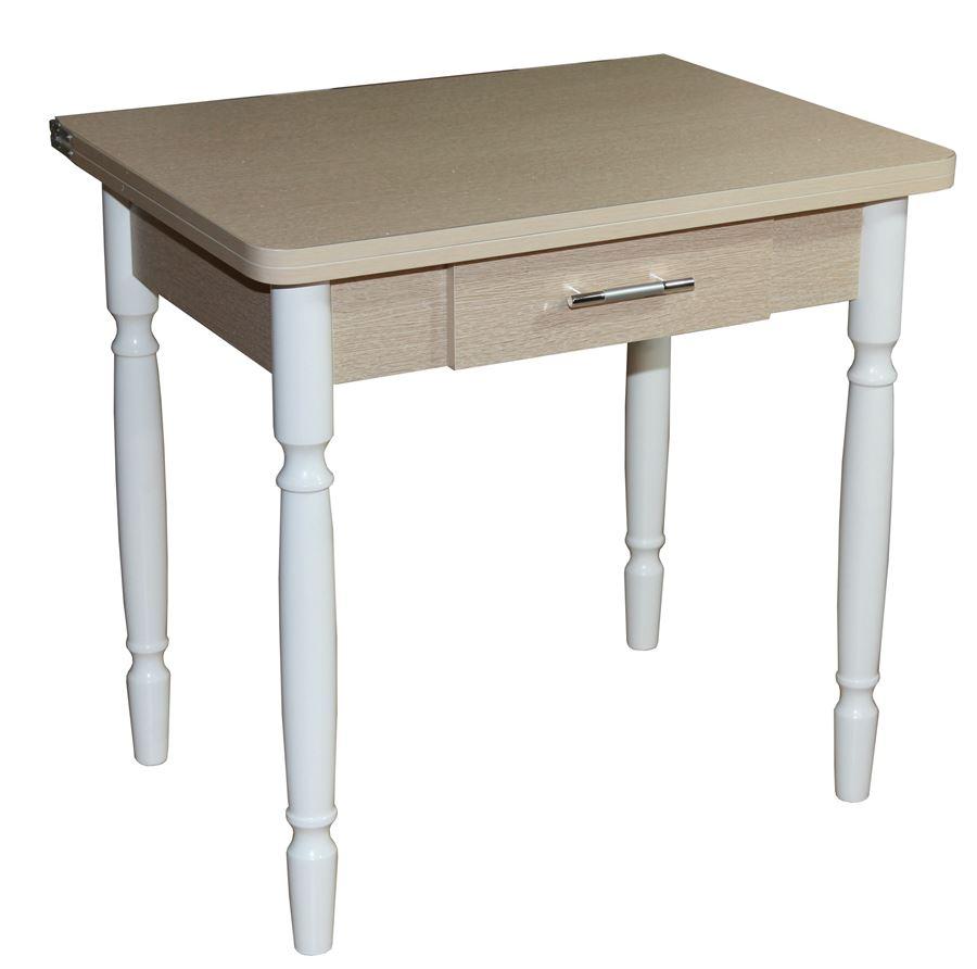 Стол обеденный ЛС-831 с ящиком (ЛДСП/Дуб беленый/ ноги Белые)