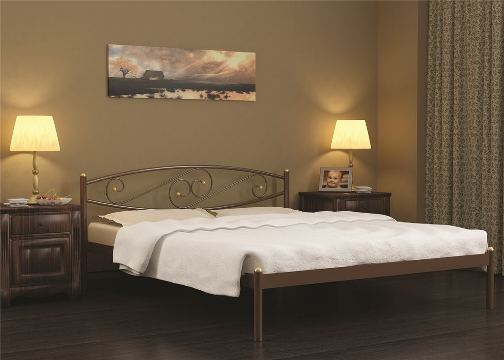 Кровать двуспальная Волна (120х200/металлическое основание) Бежевый