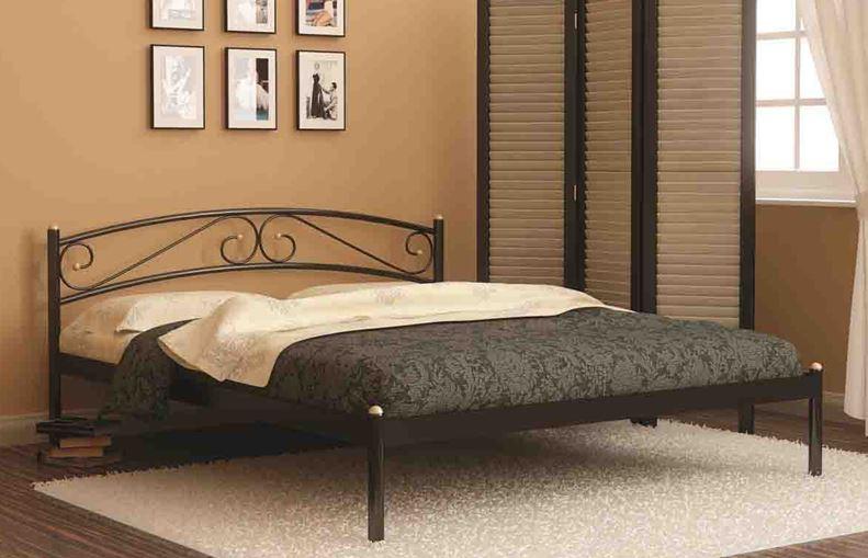 Кровать односпальная Валерия с изножьем (90х200/металлическое основание) Бежевый