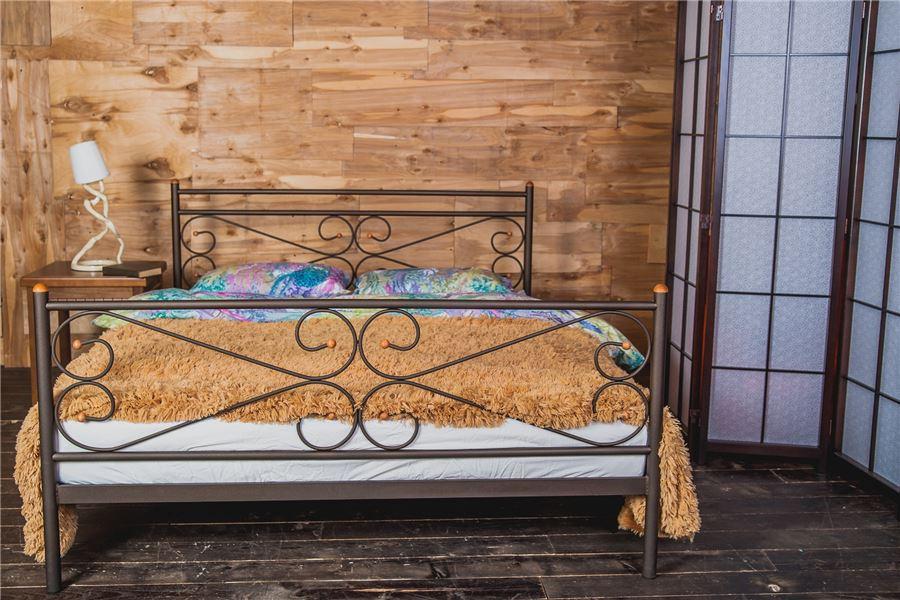 Кровать двуспальная Мишель (160х200) коричневый бархат