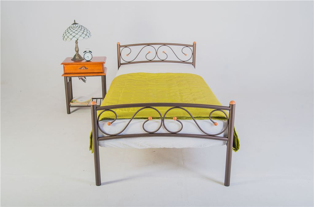 Кровать односпальная Валерия с изножьем (90х200/металлическое основание) Белый